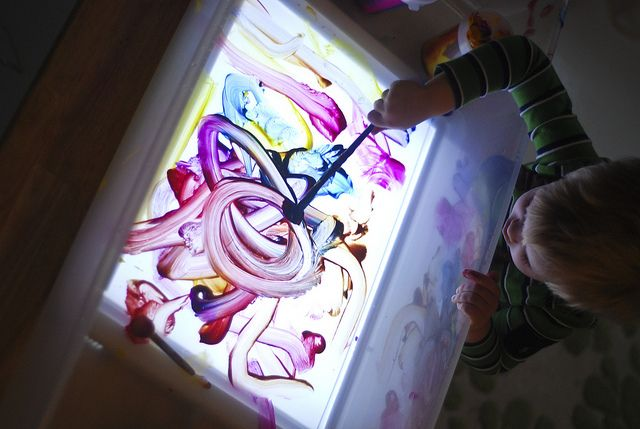 Great idea - lightbox underneath, transparent plastic lid on top, washable paints.  Other good ideas for rainy day activities here.