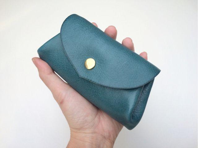 【即納品可能】イタリアンレザー*コロコロ財布 「fave」ターコイズ | ハンドメイドマーケット minne