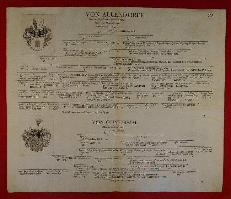 von ALLENDORF orig Kupferstich Stammbaum 1707 Adel WAPPEN von GUNTHEIM Ritter