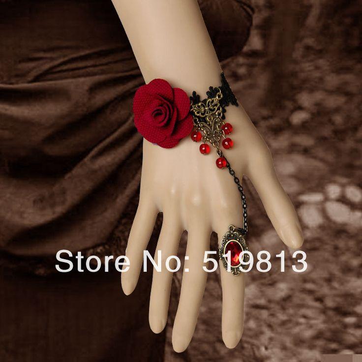 Ожерелье + браслет + серьги красный цветок черное кружево короткие feminino свадьбы ожерелье комплект украшений купить на AliExpress