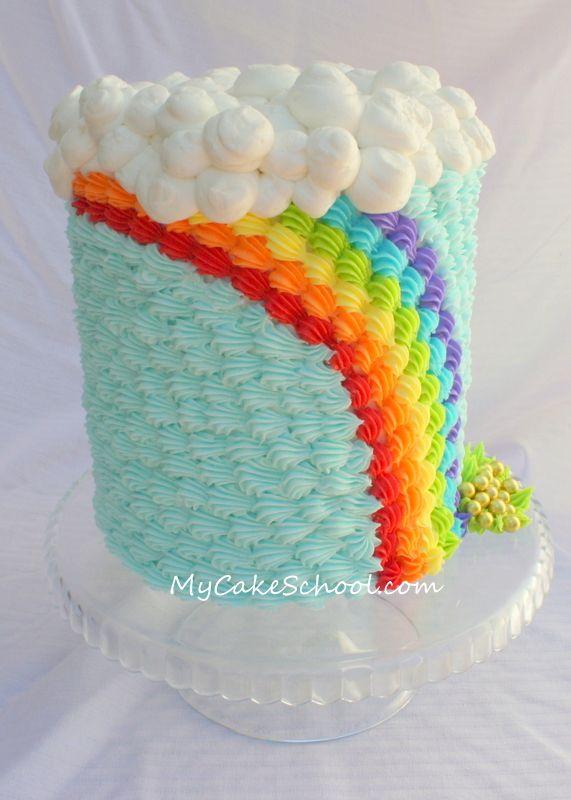 Una preciosa tarta arcoiris con manga pastelera