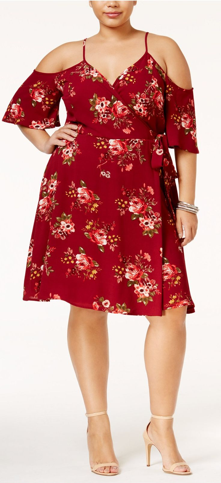 Plus Size Cold-Shoulder Wrap Dress
