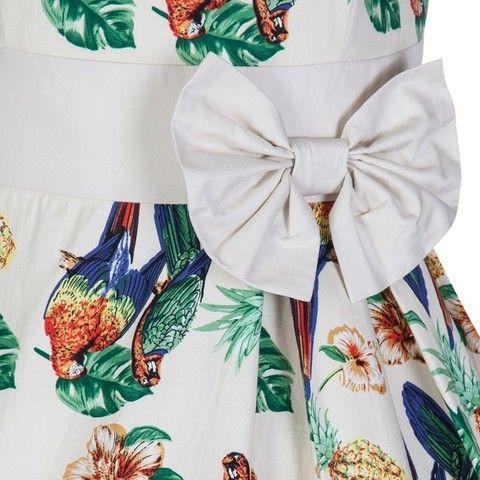 """Платье в стиле 50-х """"Келли"""", Белое с птицами"""
