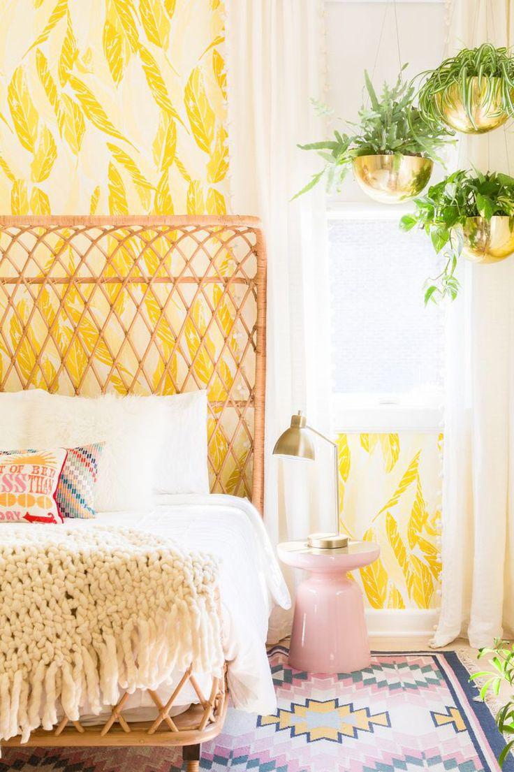 Loving this Bright bedroom. Wallpaper design by Justina Blakeney.
