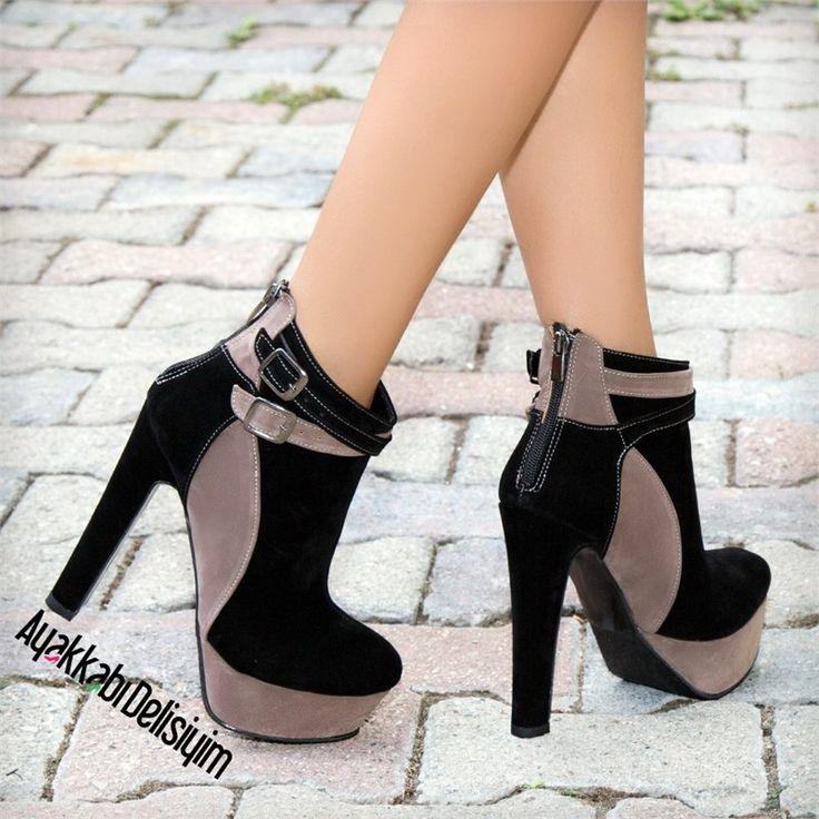 Lilima Süet Siyah Kalın Topuklu Bootie #heels #fashion