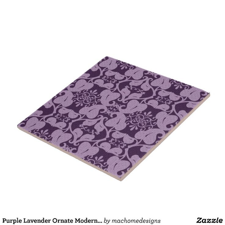Purple Lavender Ornate Modern Elegant Leaf Pattern Large Square Tile