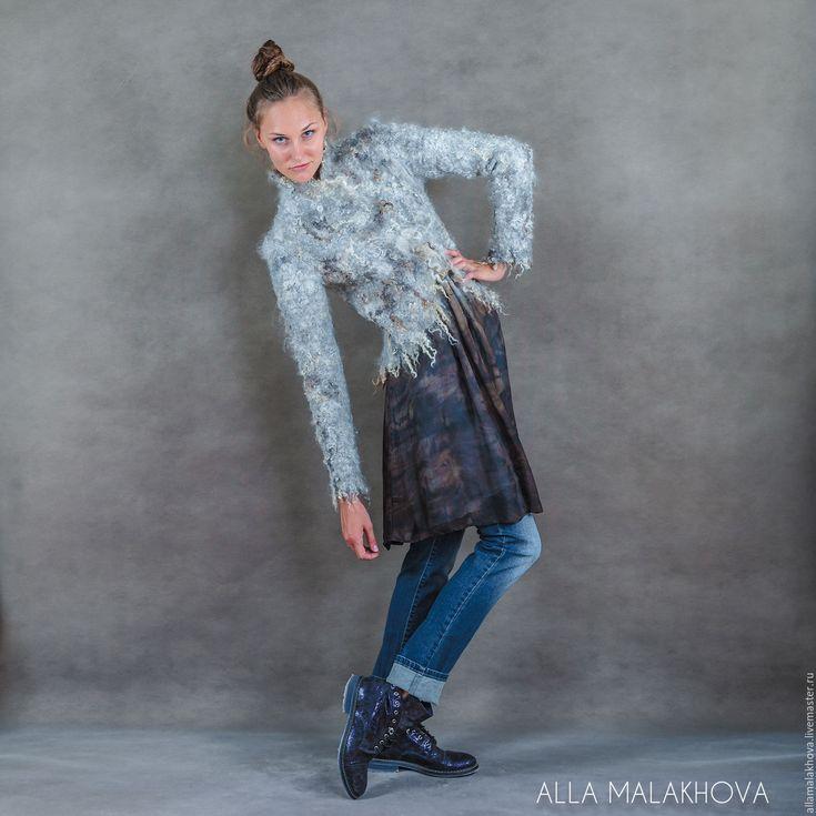 Купить Валяный пиджак Готланд - серый, валяный пиджак, валяный жакет, шерсть, флис, кудри