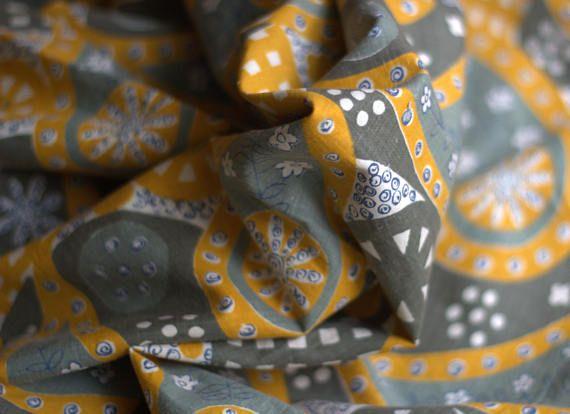 Soviet Vintage Fabric Vintage Fabric Cotton Geometric Retro
