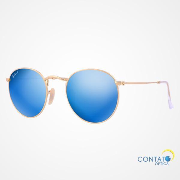 Contato Óptica - Ray-Ban RB3447 112/4L – Round - Óculos de sol redondo espelhado dourado lente azul