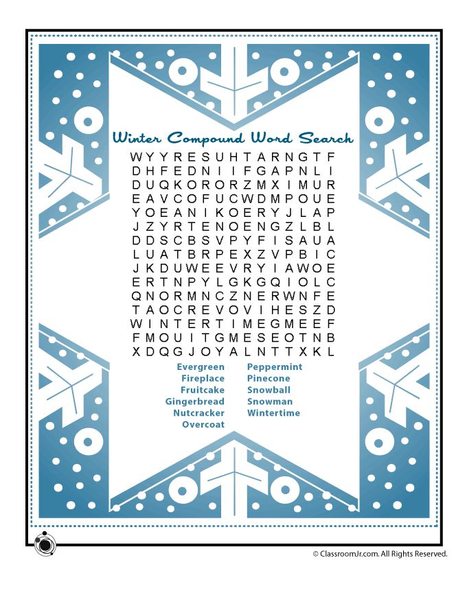 Winter Compound Words Vocabulary Worksheets Winter Compound Vocabulary Words Word Search Puzzle – Classroom Jr.