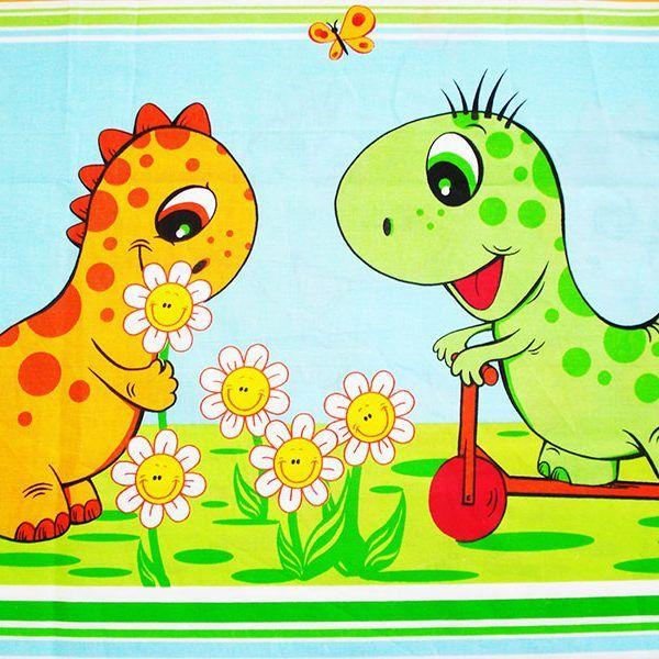 Lenjerie MyKids Dino Verde 4 Piese 120×60