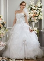 David's Bridal Wedding Dress: Beaded Organza Gown with Rosettes and Lace-Up Back Style PWG3496
