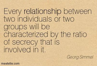 Georg Simmel: Every relationship between two individuals or two groups will be characterized by the ratio of secrecy that is involved in it. relationship. Meetville Quotes