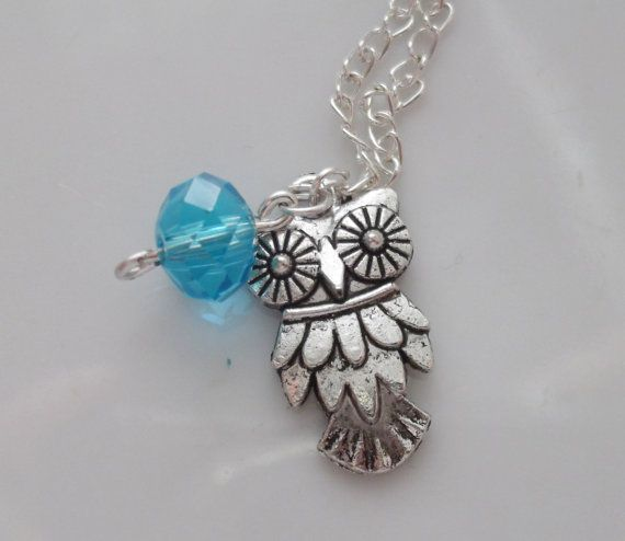 CLEARANCE owl charm with cyan glass bead by rabbitsillusions