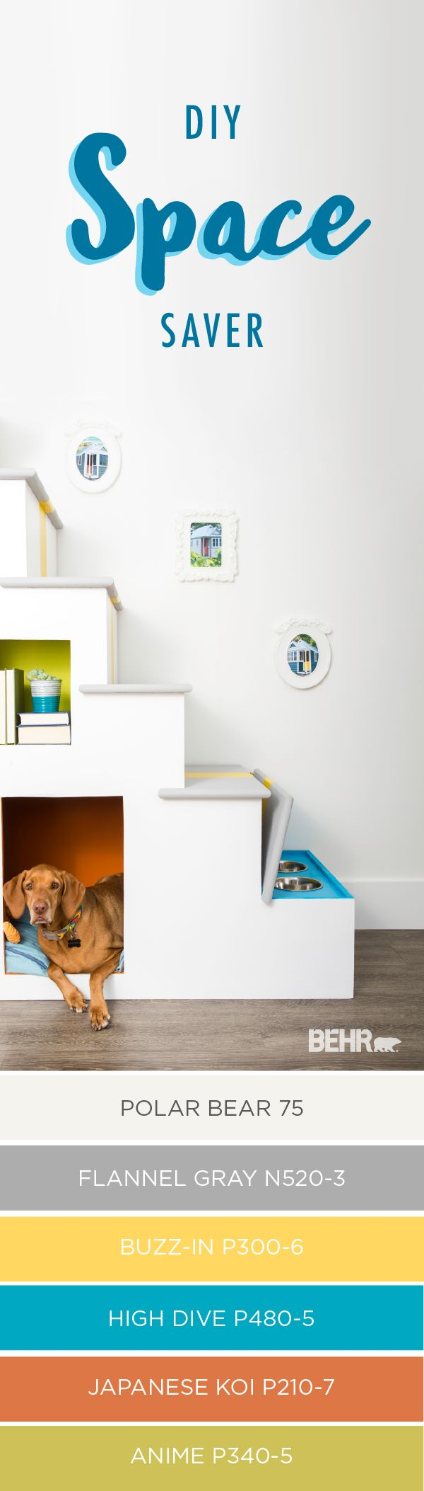 Trying to find extra storage space in a small apartment can be a challenge. Luckily, BEHR has just the solution for you. These DIY small space stairs are practical and stylish, with lots of bright colors to make your home fit your style. Plus, with a feeding station and room for a pet bed, your furry family members will love it too.