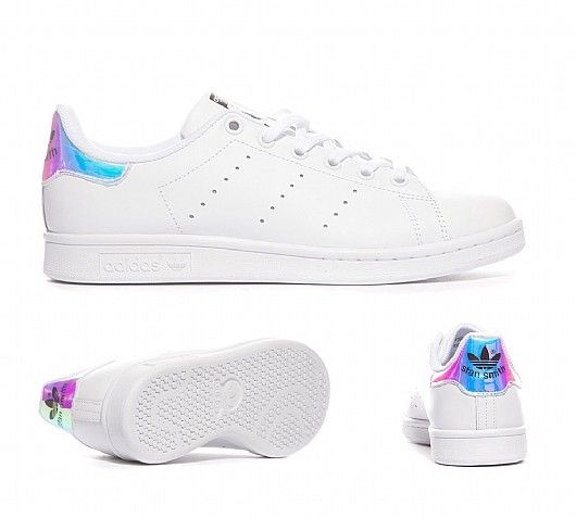 Holographic / Iridescent Stan Smiths $58.99   roshestyle.com/adidas-stan-smith-junior-classic-metallic-silver-running-white-hologram-iridescent.html