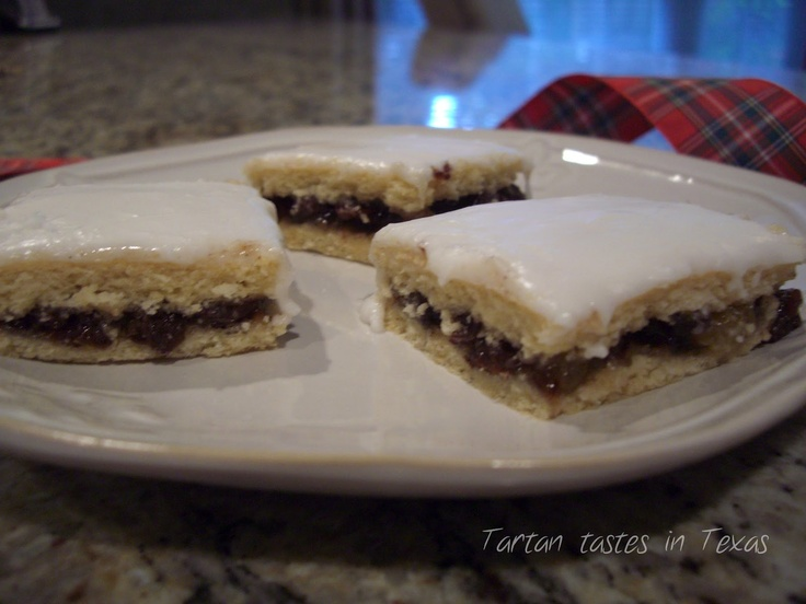 Scottish Recipes - Fly Cemetery (an old childhood fav of mine)  Some recipes use sultanas and currants, not raisins & sprinkle white granulated sugar on the top, instead of icing.