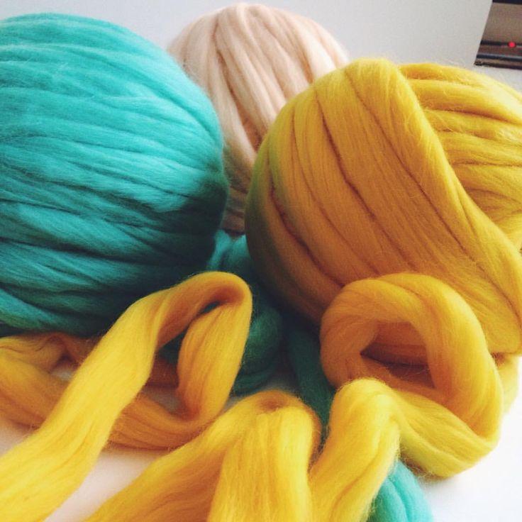 #bulky #yarn #craft #yellow #mint #ivory #merino #wool