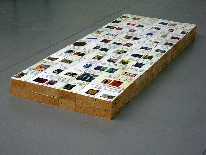 "Claire Fontaine, Equivalent VIII, 2007. 120 firebricks and photographic print on archival paper — 179 × 66 × 12,6 cm. // a Paris-based collective artist, founded in 2004. After lifting her name from a popular brand of school notebooks, Claire Fontaine declared herself a ""readymade artist"" and began to elaborate a version of neo-conceptual art that often looks like other people's work. Working in neon, video, sculpture, painting and text, her practice can be described as an ongoing…"
