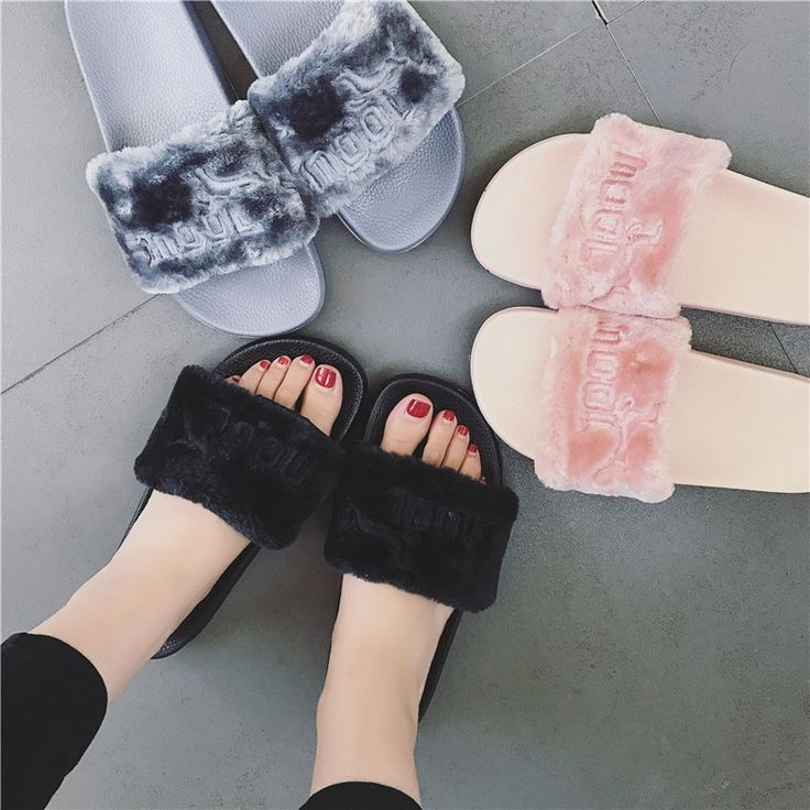 2018 NEW Women Summer Slippers fenty slipper Rihanna shoes sandals Flip Flop Plush Cute Furry Mule Lady's Flip Flop SIZE 35-40