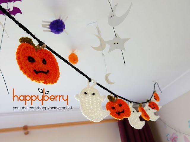 Happy Berry Crochet: Halloween Crochet Ghost and Pumpkin Bunting
