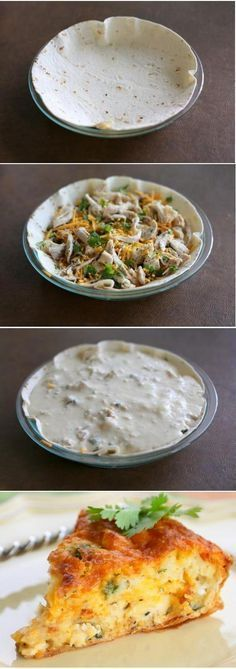 Chicken Cheese Quesadilla Pie - I would drop the cilantro and add ham or bacon. Maybe do them in large muffin cups.
