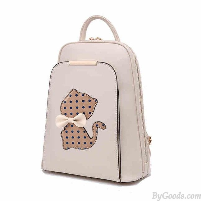 College Polka Dot Kitten Bow Mixed Colors School Trapezoid Backpack only $36.99 in ByGoods.com!