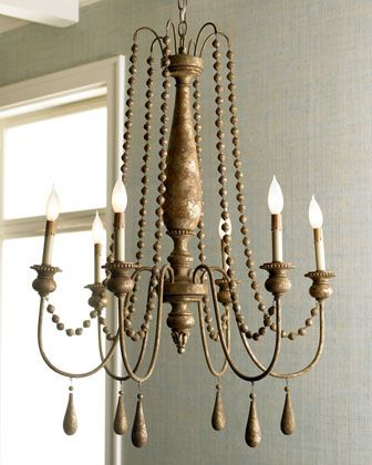 """""""French Bead"""" Chandelier Love, love, love!!Dining Room, Beads Chandeliers, Chandeliers Lights, Chand Redo, Wrought Iron, French Beads, Wroughtiron, Wooden Beads, Beads Chandlier"""