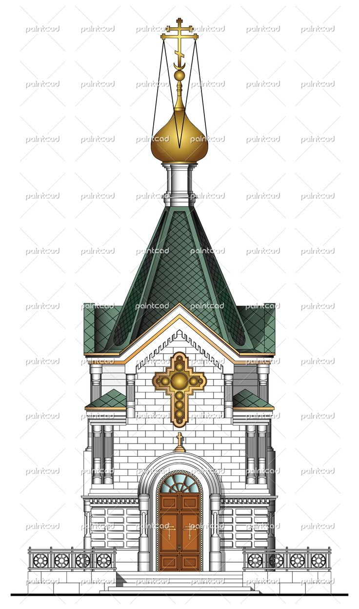 Facade of russian church with main entrance. High detailed vector illustration. Isolated object over white background
