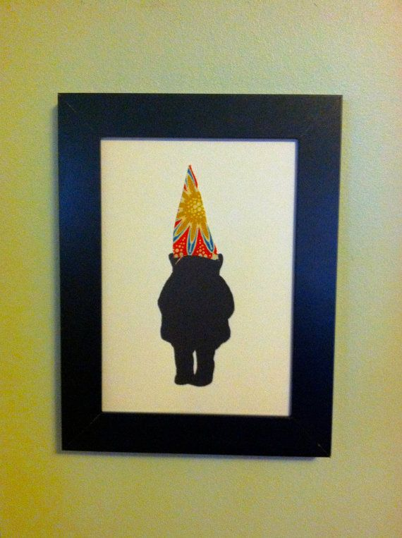 Gnome Silhouette 5x7 Framed Wall Custom Art