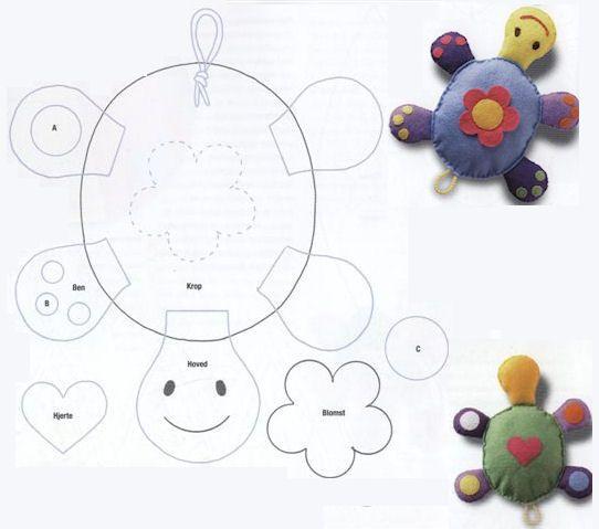 schildpadje van vilt Kijk voor vilt eens op http://www.bijviltenzo.nl....another great turtle template for making a stuffed felt toy!