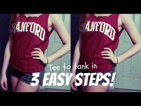 How to: Cut a T-Shirt into a Tank Top in 3 Easy Steps! | DIY http://www.youtube.com/watch?v=wofh4-8PtIQ