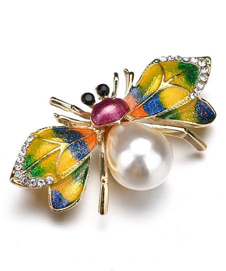 GYN/&Joy Enamel Dragonfly Crystal Insect Brooch Pin