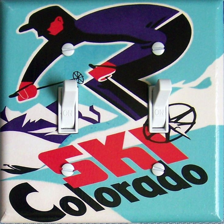 SKI COLORADO Vintage Ski Poster Switch Plate (single or double)  - - FREE Shipping - - by VintageSwitchPlates on Etsy