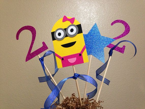 Pink Minion Birthday Table Centerpieces  Girl by JustBeccuz