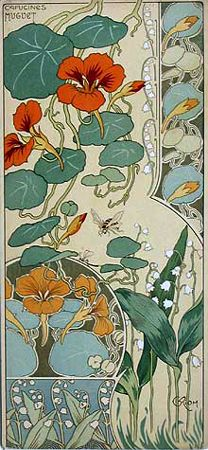 Art Nouveau  - floral abstractions, vine tendrils, use of circles, borders, hand drawn type, embellished stroke endings Rare French 1890s. Anouk.