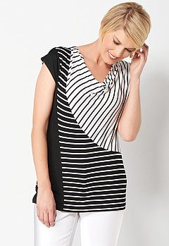 Striped Spliced Cowl Neck, 9-0036194871, Striped Spliced Cowl Neck Main View PGP