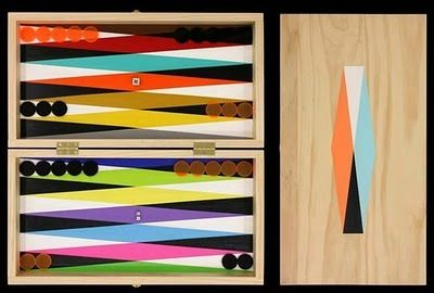Backgammon. WOW, as a lover of Backgammon and lover of color and design, this has my name ALL OVER IT. What a great gift this would be... for me!