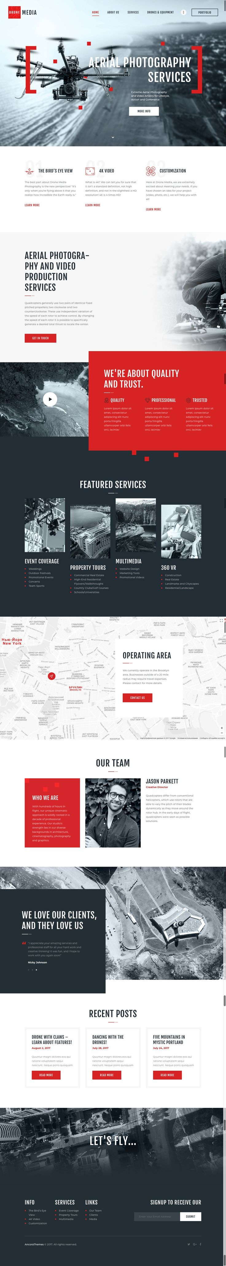 Drone Media is our new WordPress theme focusing on aerial photography and videography. The design has modern touch and feel, and it offers full pack of options to describe your services and expose all your projects.  Drone Media is 100% responsive and fully editable. Whatever you feel like changing – here's an easy-to-use admin panel to your access, with its handy Customizer. Want to get the demo just like ours? – simply use one-click demo installation option, and there you go!