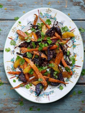 """Beetroot, carrot & orange salad.Jamie Oliver. Jan 2017. Served with grilled steak. Thumbs up from all diners, would make again. Not a difficult recipe, or """"Not too tricky"""", as it states on Jamie's website."""
