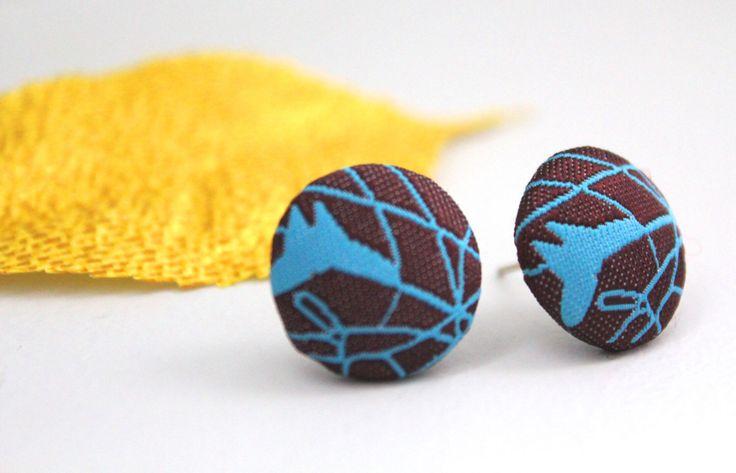Fabric button earrings, Abstract stud earrings, Brown earrings, Teal button studs, Geometric studs, Abstract jewelry, Blue line earrings by karliboutique on Etsy https://www.etsy.com/listing/154376363/fabric-button-earrings-abstract-stud