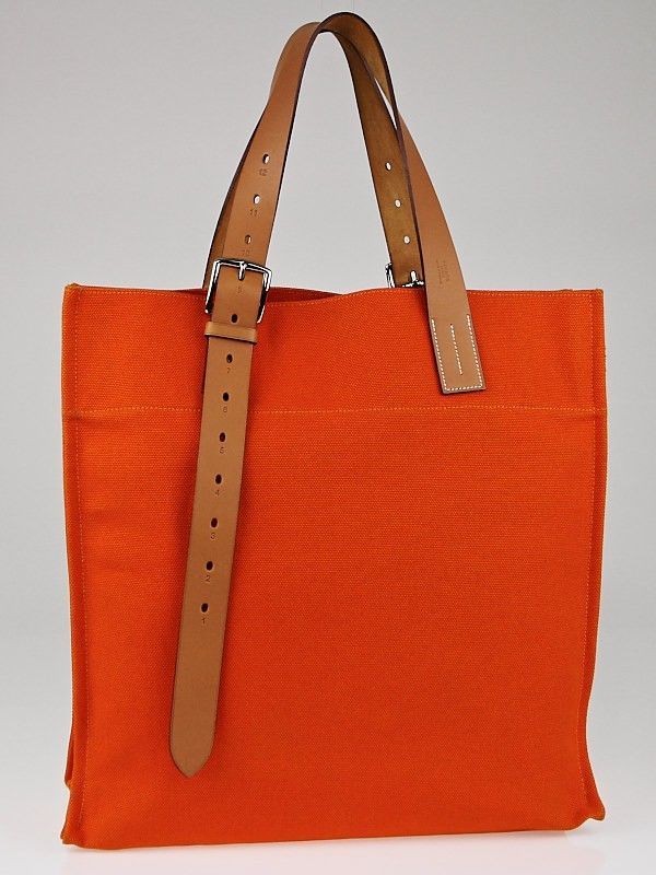 Hermes Orange Canvas and Natural Vache Hunter Leather Etriviere Shopping Tote Bag