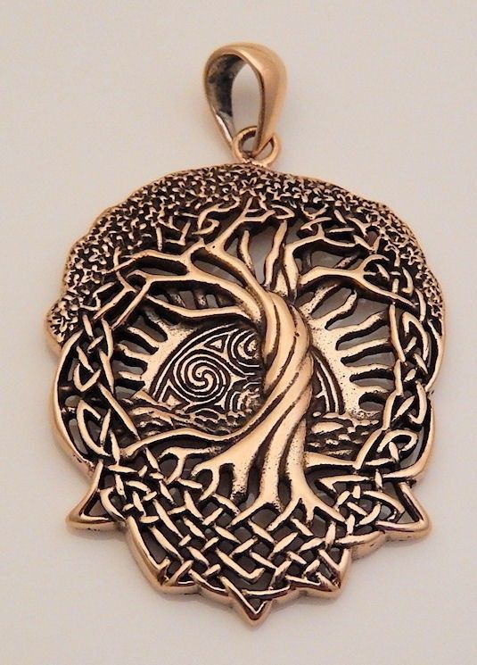 Celtic Tree of Life - Solstice Tree - World Tree Pendant - in Gold-tone high quality Jeweler's Bronze. The Solstice Tree, or Tree of Life, is an important Celtic symbol representing the connection of