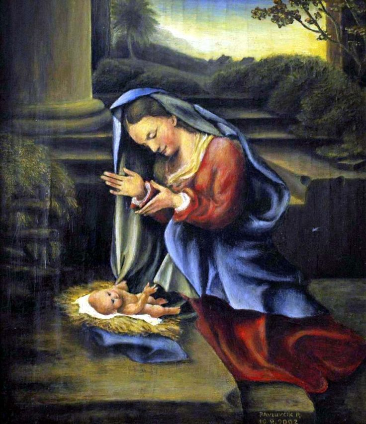 Madonna adoring child, artist Peter Pavluvčík, pattern Correggio - Antonio Allegri, 1525-1526, 82 x 68 cm, Uffizi Gallery, Florence, Origin 2002, oil on cardboard coated canvas, 26 x 31 cm.