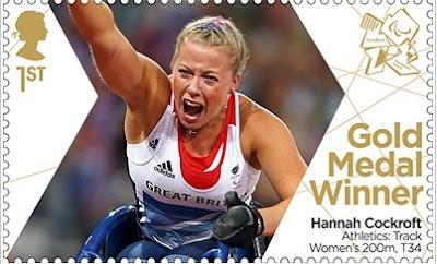 Paralympics Gold Medal Winner stamp - Athletics: Tack Women's 200m, T34, Hannah Cockroft.