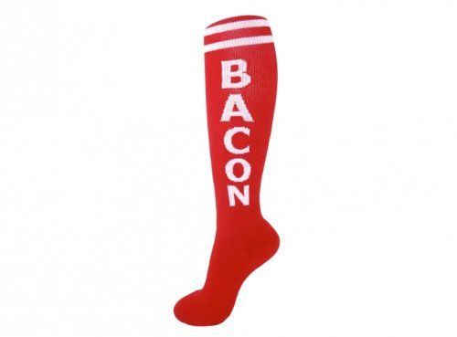 Red #bacon socks http://kristitrimmer.com/deals-bacon-lovers-food-apparel/ #fashion #baconlovers #giftideas
