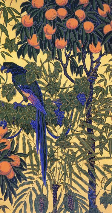 Macaw wallpaper (detail) by Walter Crane, ca.1908. for Jeffrey & Co | Arts & Crafts, Aesthetic Movement