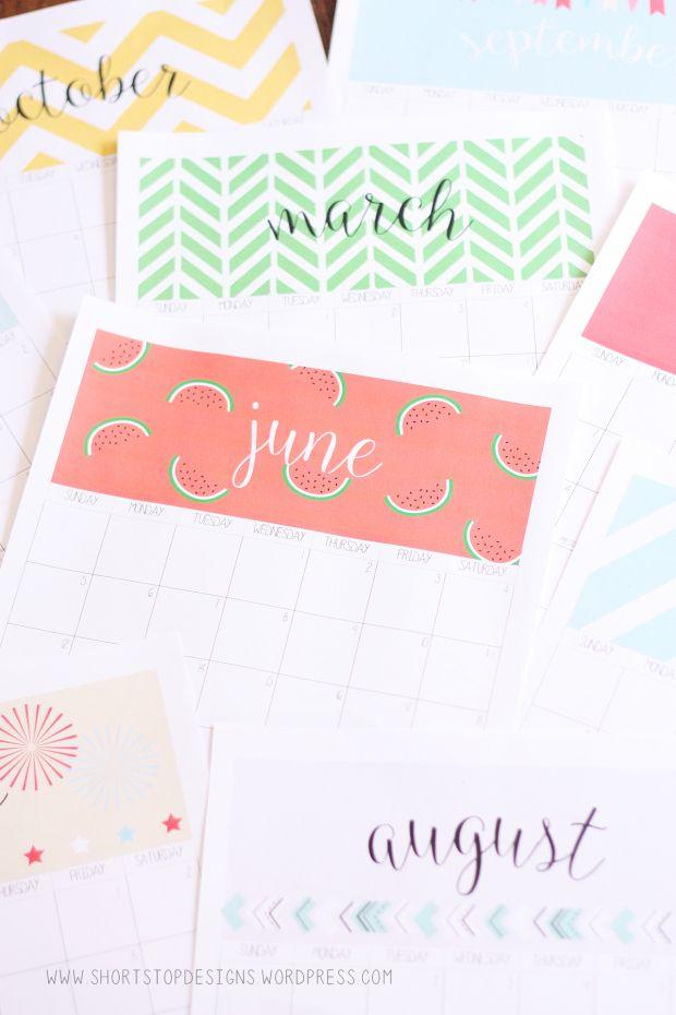 Calender 2016. Really cute design! Free printable!