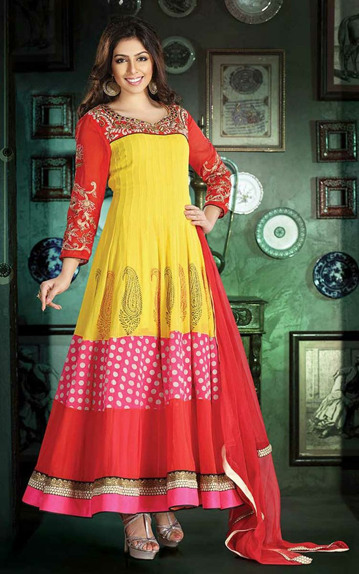YELLOW, PINK & RED GEORGETTE ANARKALI SALWAR KAMEEZ - DIF 29516