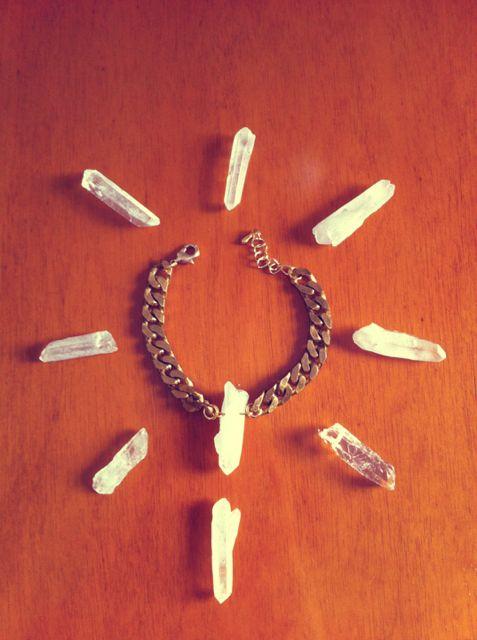 quartz bracelet, raw brass chain, quartz crystal  https://www.facebook.com/jewelrylycidas